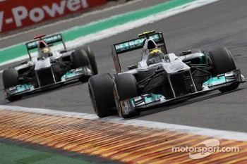 Nico Rosberg, Mercedes GP F1 Team leads Michael Schumacher, Mercedes GP F1 Team