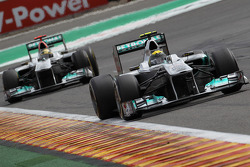 Nico Rosberg, Mercedes GP F1 Team leads Michael Schumacher, Mercedes GP F1 Team