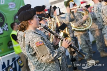 Members of the army perform during pre race ceremonies