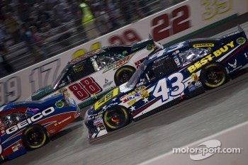 A.J. Allmendinger, Richard Petty Motorsports Ford and Dale Earnhardt Jr., Hendrick Motorsports Chevrolet
