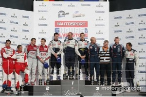 LMP1 podium: class and overall winners Sébastien Bourdais and Simon Pagenaud, second place Timo Bernhard and Marcel Fässler, third place Jacques Nicolet, Alexandre Prémat and Olivier Pla