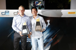 Valtteri Bottas, and Rio Haryanto, with hteir Dallara trophies