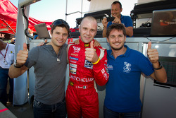 LMGT pole winner Gianmaria Bruni with Pierre Kaffer and Giancarlo Fisichella