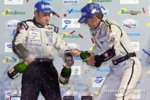 P2 podium: Christophe Bouchut and Scott Tucker celebrate