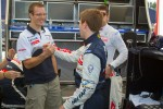 Pole winner Anthony Davidson celebrates with Sébastien Bourdais and Simon Pagenaud