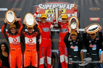 Podium: race winners Garth Tander and Nick Percat, second place Craig Lowndes, Mark Skaife, third place, Greg Murphy, Allan Simonsen