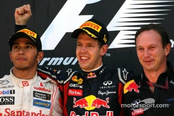 Podium: race winner Sebastian Vettel, Red Bull Racing, second place Lewis Hamilton, McLaren Mercedes, Christian Horner, Red Bull Racing, Sporting Director
