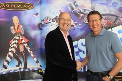V8 Supercars Chairman Tony Cochrane with five-time champion Mark Skaife who announced he will step down from driving to take up his role as Chairman of the V8 Supercars Commission