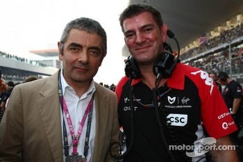 Rowan Atkinson, British actor, with Graeme Lowden, Virgin Racing director of racing