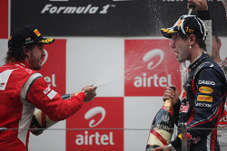 Podium: Fernando Alonso, Scuderia Ferrari and Sebastian Vettel, Red Bull Racing
