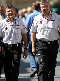 Nick Fry, Chief Executive Officer, Mercedes GP and Ross Brawn, Mercedes GP, Technical Director