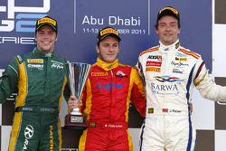 Podium: race winner Fabio Leimer, second place Luiz Razia, third place Jolyon Palmer