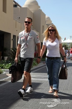 Michael Schumacher, Mercedes GP F1 Team and Corina Schumacher, Wife of Michael Schumacher, Mercedes GP F1 Team