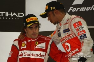 Podium: race winner Lewis Hamilton, McLaren Mercedes, second place Fernando Alonso, Scuderia Ferrari