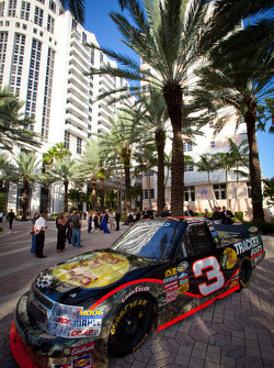 Truck of Austin Dillon, RCR Chevrolet on dispkay in front of the Loews Hotel