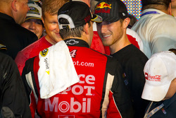 Victory lane: NASCAR Sprint Cup Series 2011 champion Tony Stewart, Stewart-Haas Racing Chevrolet celebrates with Kasey Kahne, Red Bull Racing Team Toyota