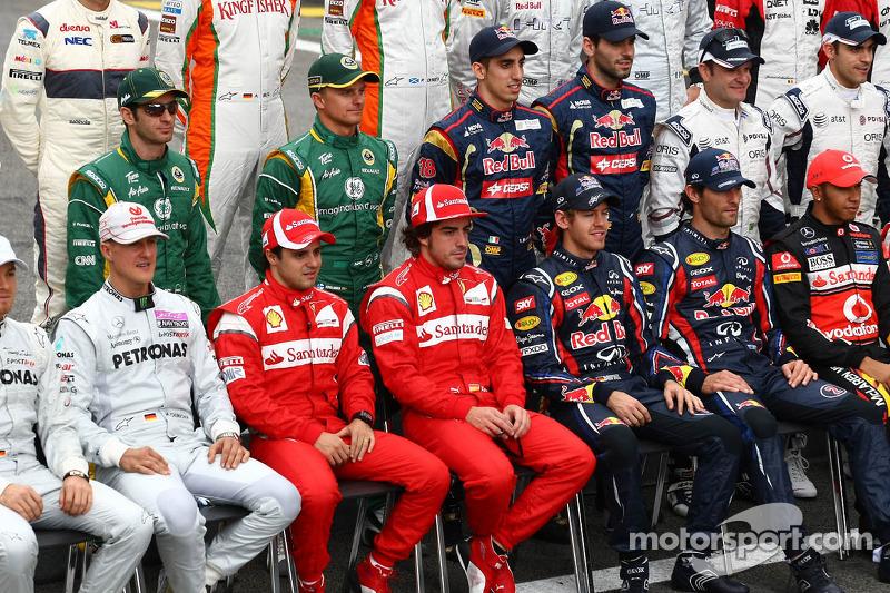Michael Schumacher, Mercedes GP Petronas F1 Team with Felipe Massa, Scuderia Ferrari, Fernando Alonso, Scuderia Ferrari , Sebastian Vettel, Red Bull Racing and Mark Webber, Red Bull Racing
