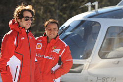 Felipe Massa arrives by helicopter