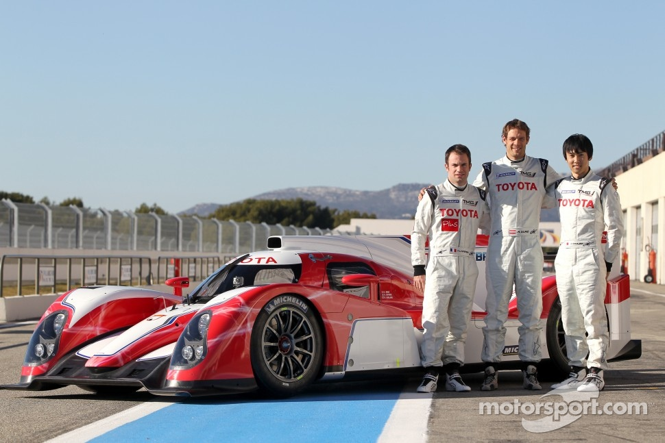 Kazuki Nakajima, Alexander Wurz, Nicolas Lapierre with the new Toyota Hybrid TS030