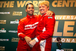 Pole winner Ryan Dalziel celebrates with Alex Popow