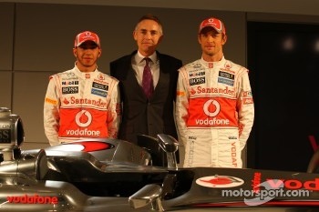 Lewis Hamilton, McLaren Mercedes, Martin Whitmarsh, McLaren, Chief Executive Officer and Jenson Button, McLaren Mercedes