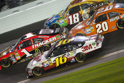 Greg Biffle, Roush Fenway Racing Ford, Jamie McMurray, Earnhardt Ganassi Racing Chevrolet, Joey Logano, Joe Gibbs Racing Toyota, Kyle Busch, Joe Gibbs Racing Toyota