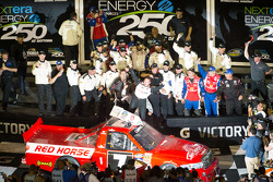 Victory lane: race winner John King, Red Horse Racing Toyota celebrates