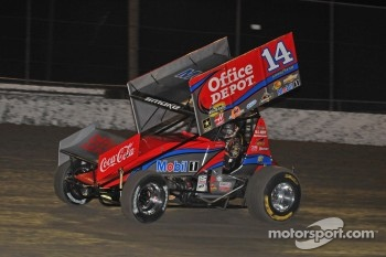 Tony Stewart in action in his winged sprint car