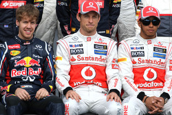 Sebastian Vettel, Red Bull Racing, Jenson Button, McLaren Mercedes and Lewis Hamilton, McLaren Mercedes