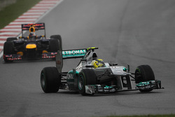 Nico Rosberg, Mercedes GP  leads Sebastian Vettel, Red Bull Racing