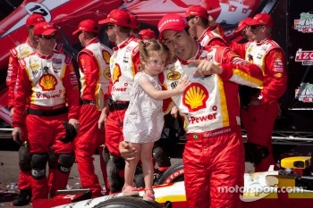 Victory lane: race winner Helio Castroneves, Team Penske Chevrolet celebrates