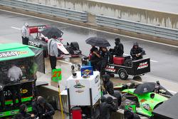 Rain hits the track