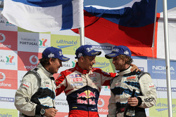 Excluded winner Mikko Hirvonen, Citroën DS3 WRC, Citroën Total World Rally Team, second place Mads Ostberg and Jonas Andersson
