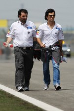Sergio Perez, Sauber F1 Team walks the circuit