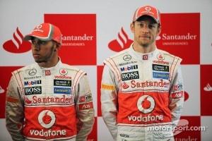 Lewis Hamilton, McLaren Mercedes with Jenson Button, McLaren Mercedes at a Santander Press Call