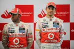 Lewis Hamilton, McLaren Mercedes with Jenson Button, McLaren Mercedes at a Santander Press Call