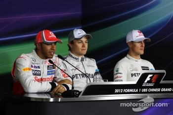 Qualifying FIA Press Conference, Lewis Hamilton, McLaren, second; Nico Rosberg, Mercedes AMG F1, pole position; Michael Schumacher, Mercedes AMG F1, third