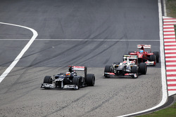 Pastor Maldonado, Williams leads Sergio Perez, Sauber and Fernando Alonso, Ferrari