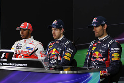 The FIA Press Conference, Lewis Hamilton, McLaren Mercedes, second; Sebastian Vettel, Red Bull Racing, pole position; Mark Webber, Red Bull Racing, third