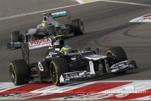 Bruno Senna, Williams F1 Team leads Nico Rosberg, Mercedes AMG Petronas