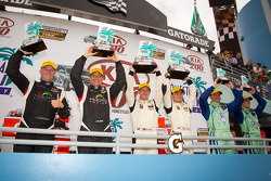 ST podium: class winners Ryan Ellis and Martin Jensen, second place Jayson Clunie and Pierre Kleinubing, third place Andrew Carbonell and Rhett O'Doski