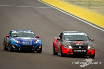 #75 Compass360 Racing Honda Civic SI: Ryan Eversley, Ray Mason, #04 CJ Wilson Racing Mazda MX-5: Bruce Ledoux, Marc Miller