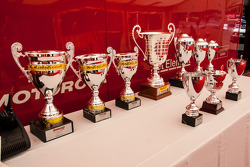 Trophies lined up