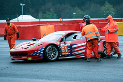 Shunt on the wall for #61 AF Corse-Waltrip Ferrari 458 Italia: Robert Kauffman, Rui Aguas, Brian Vickers