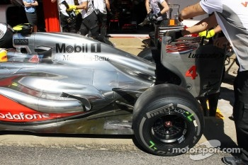 Lewis Hamilton, McLaren exhaust and engine cover detail