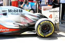 Lewis Hamilton, McLaren exhaust and rear suspension detail