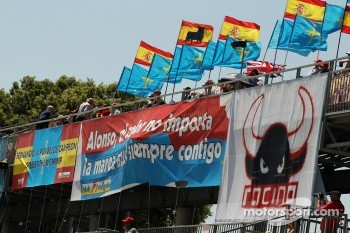 Banners from fans for Fernando Alonso, Ferrari