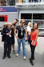 Laia Ferrer, TV3, with GP3 driver Carmen Jorda, Ocean Racing Technology