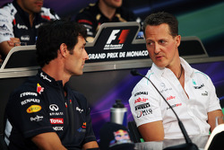 Mark Webber, Red Bull Racing with Michael Schumacher, Mercedes AMG F1 in the FIA Press Conference