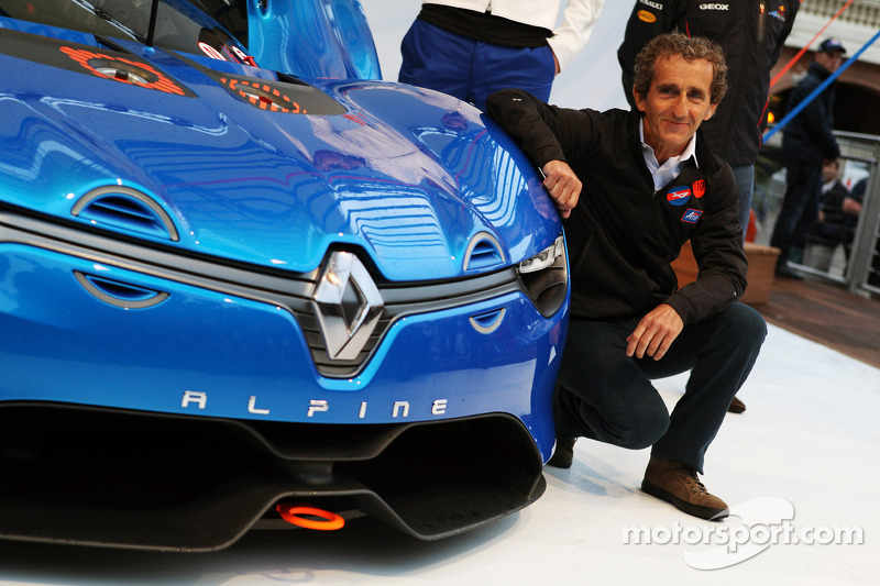 Alain Prost, at the unveiing of the Renault Alpine A110-50 Concept car on the Red Bull Energy Station